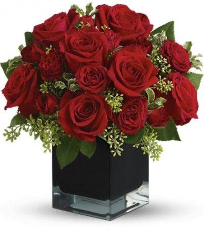 Букет із червоних троянд у вазі чорного кольору