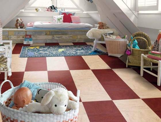 Оформлення підлоги у дитячій кімнаті матеріалом мармолеум