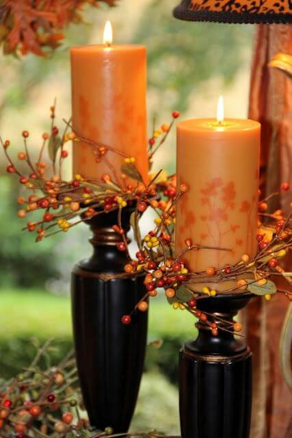 Декорування свічок осінніми матеріалами