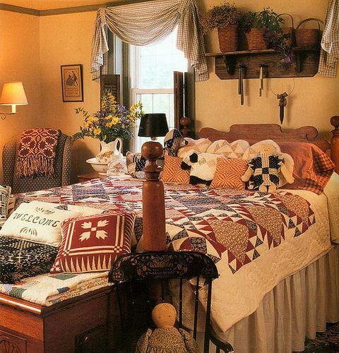 Американський кантрі в інтер'єрі спальні