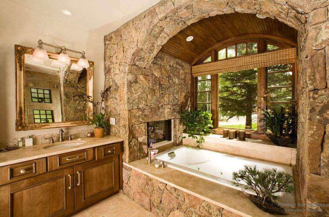 Натуральне каміння в оздобленні ванної кімнати в стилі кантрі