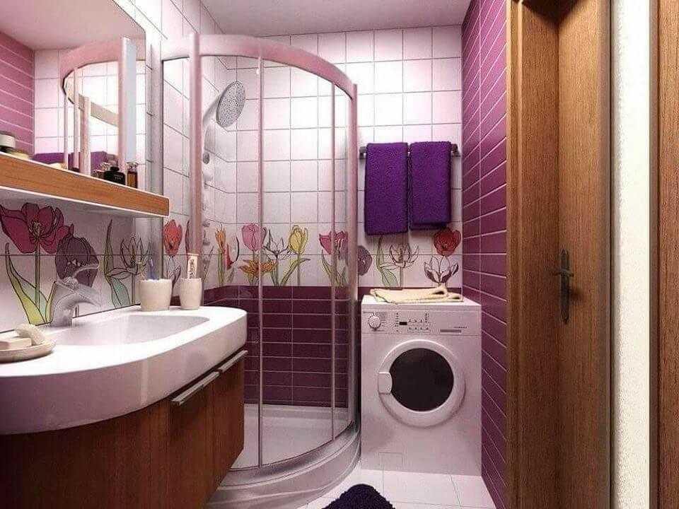 Способи викладання плитки в інтер'єрі ванної бузкового кольору