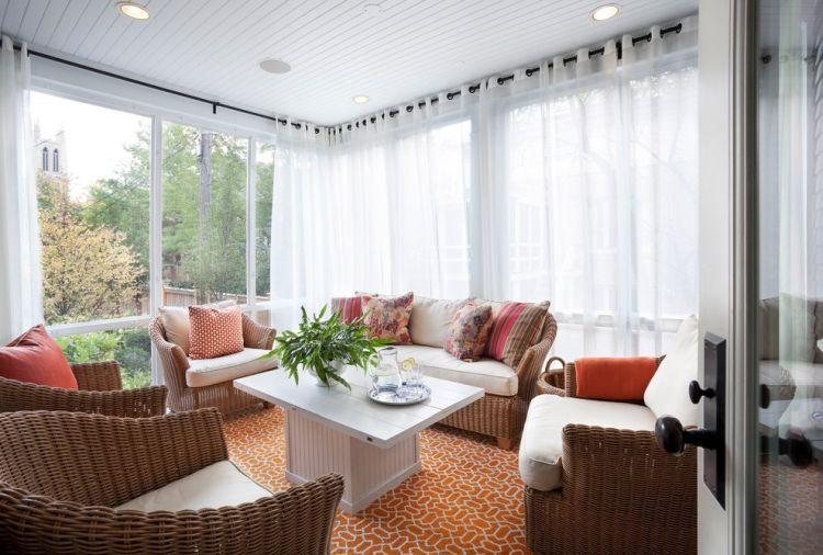 Плетені меблі в дизайні веранди