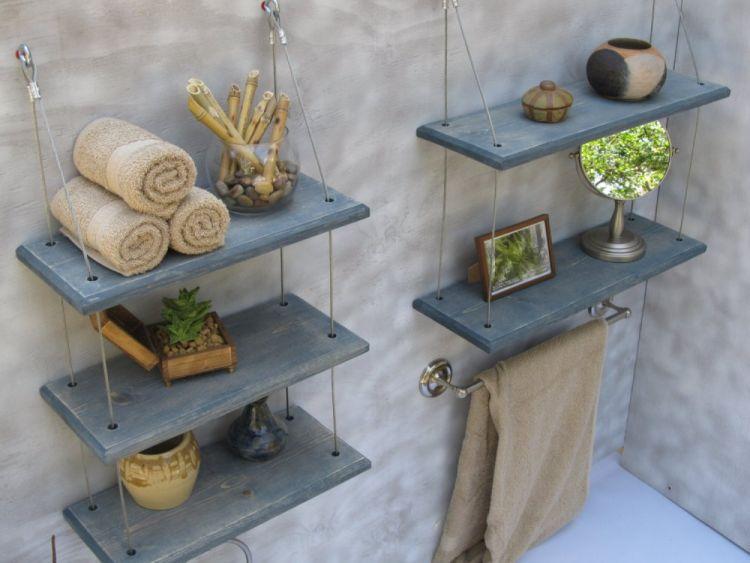 Підвісні полиці у ванній кімнаті для зберігання
