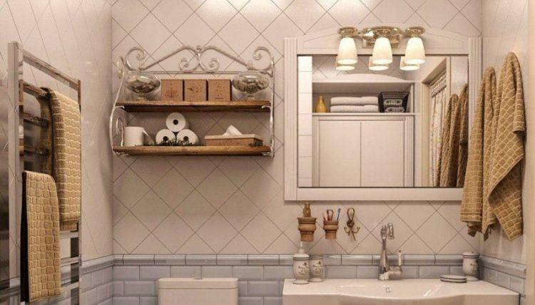Поєднання дерева та металу в дизайні полиць для ванної кімнати