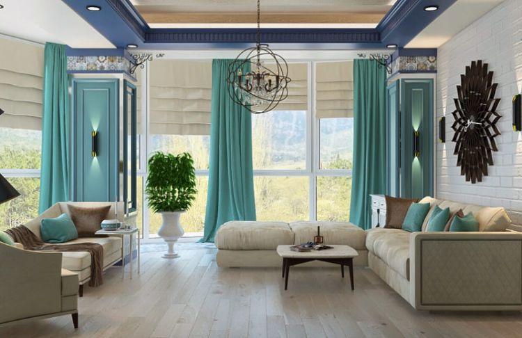 Штори бірюзового кольору у вітальні