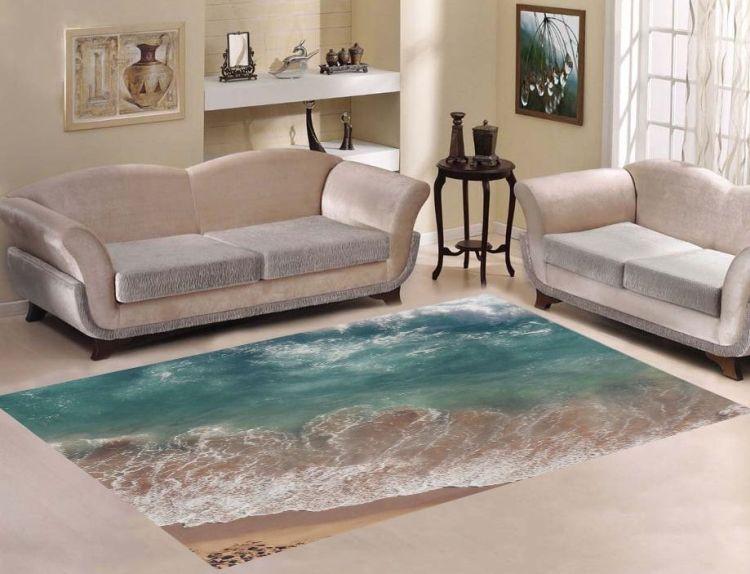 Килим з рисунком морських хвиль - акцент у мінімалістському інтер'єрі