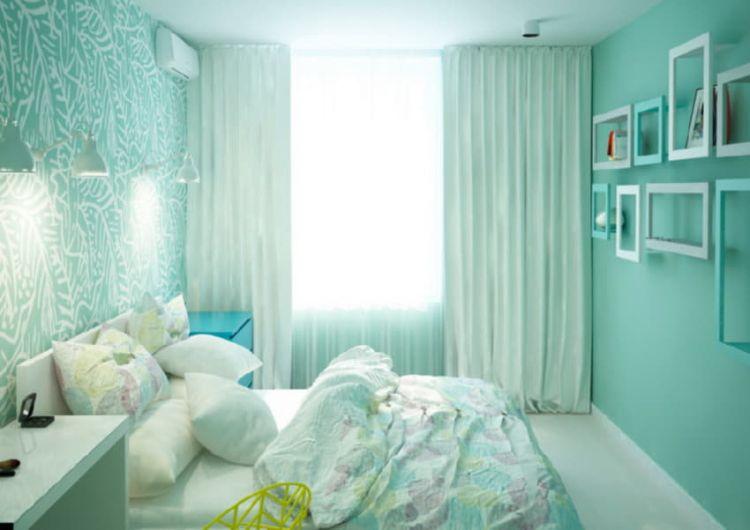 Інтер'єр спальні, виконаний у морській палітрі