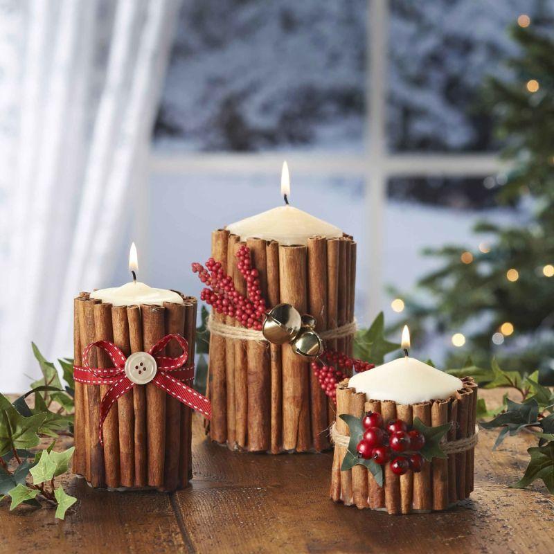 Великі інтер'єрні свічки, декоровані натуральними матеріалами