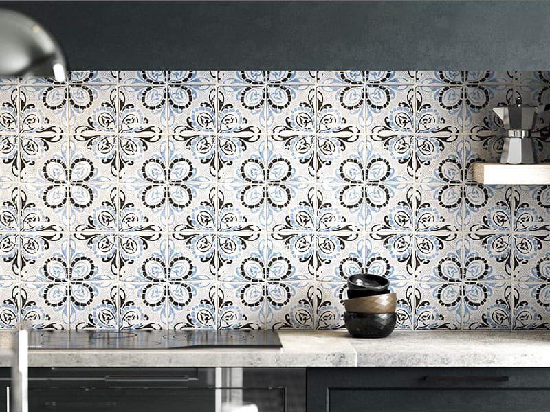 Кухонний фартух з цементної плитка в стриманих пастельних тонах