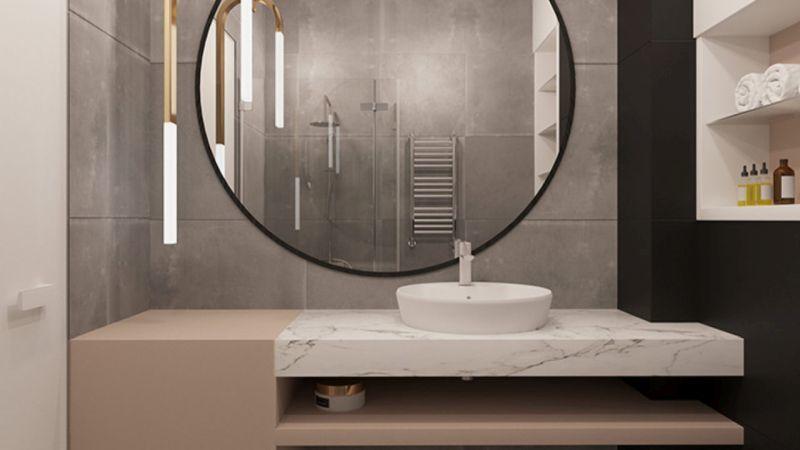Стриманий дизайн дзеркала для сучасної ванної кімнати.