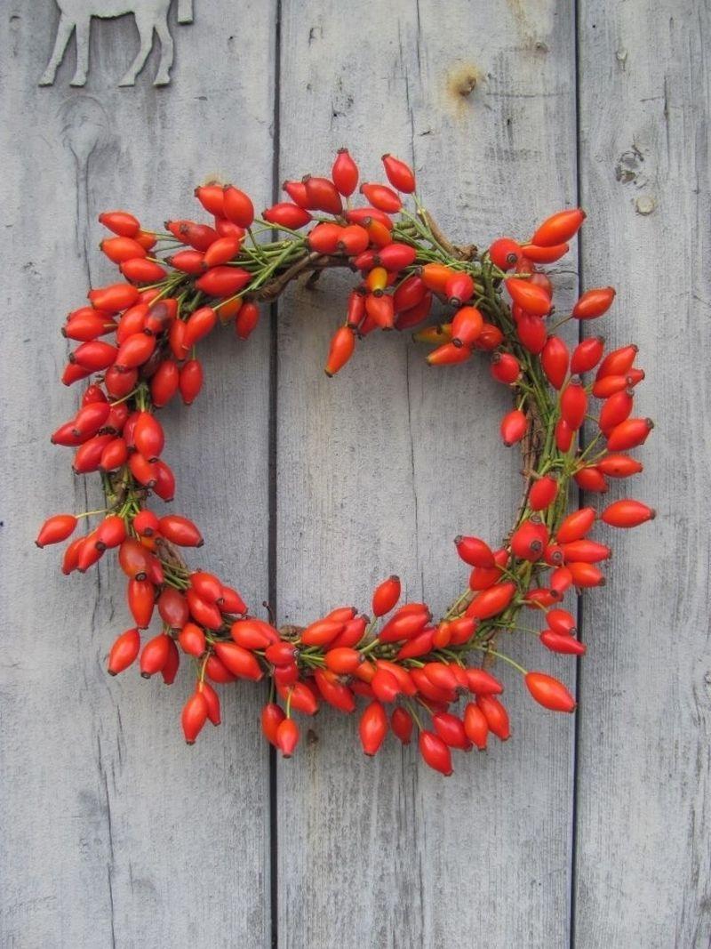 Елегантно та просто: осінній вінок з плодів шипшини