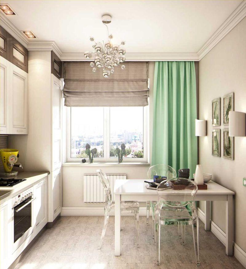 Вузька кухня з прозорими стільцями
