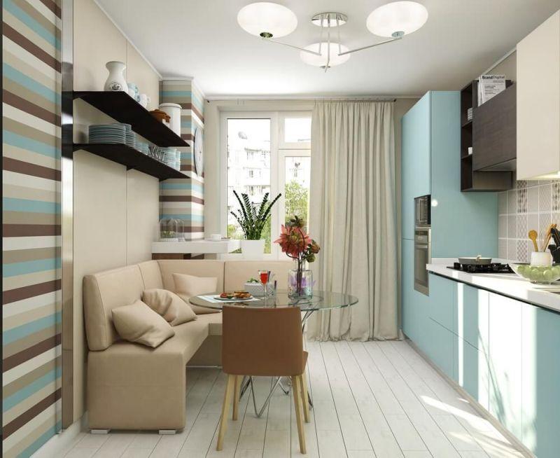 Стеля світло-сірого кольору на вузькій кухні