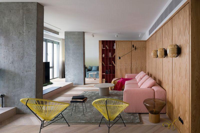 Поєднання дерева та бетону в модному інтер'єрі
