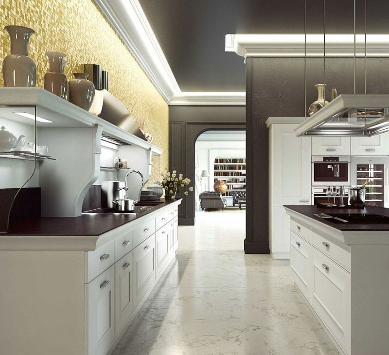 Широкі проходи на кухні легко підмітати та мити