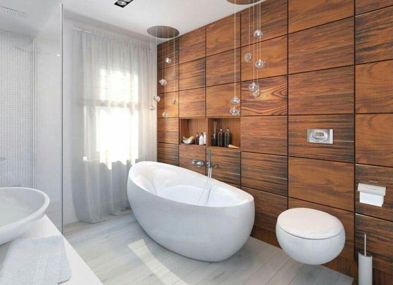 Дерев'яні стінові панелі в дизайні ванної кімнати