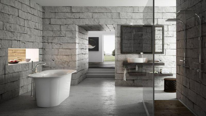 Кам'яні стіни у ванній кімнаті