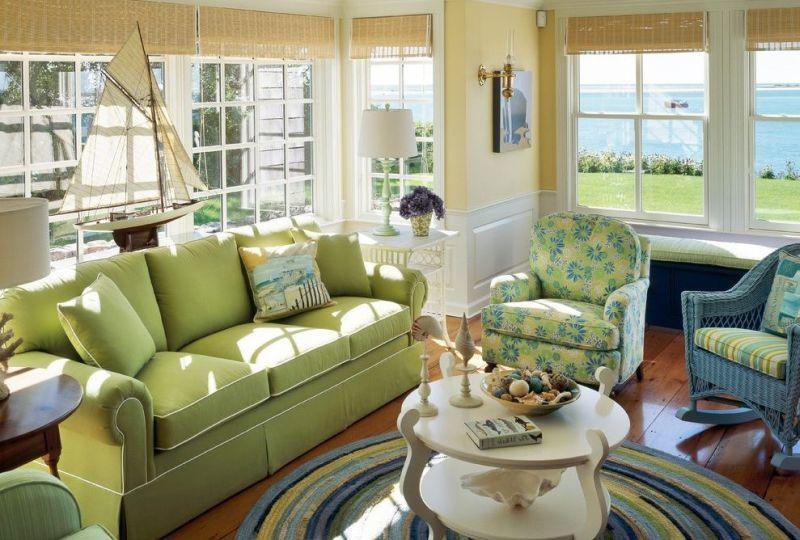 Круглий килим як центр куточку для відпочинку у вітальні