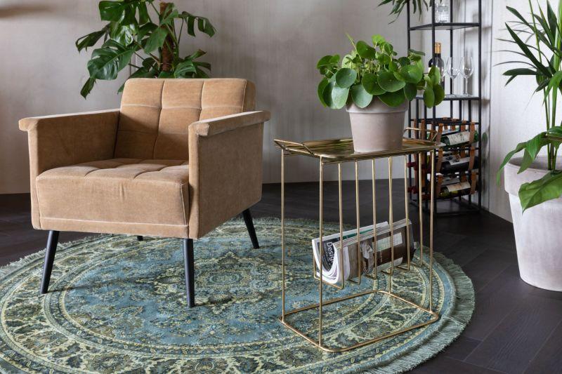 Круглий килим з класичним візерунком і бахромою