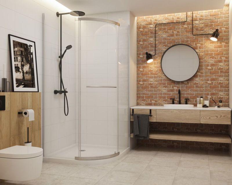 Стіна, оздоблена цеглою, в інтер'єрі ванної кімнати