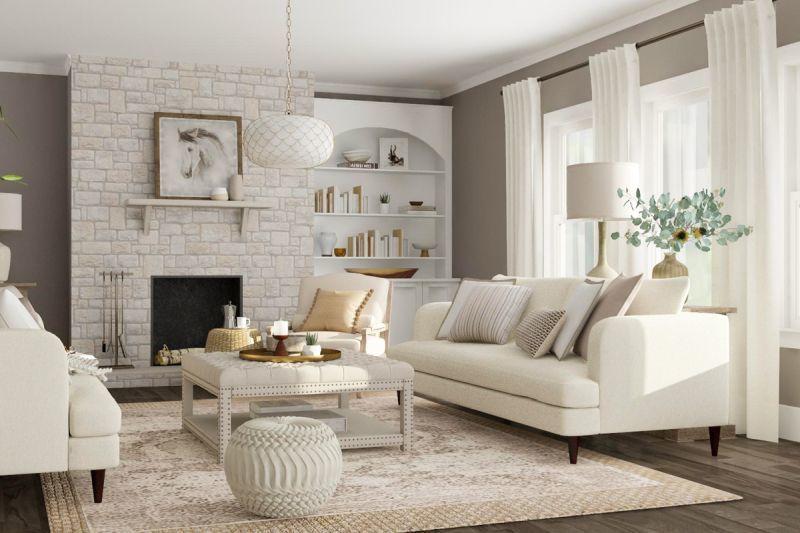 Різні відтінки білого та сірого у білому інтер'єрі