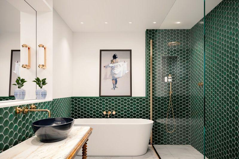 Інтер'єр ванної кімнати у зеленому кольорі