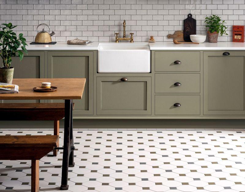 Підлога на кухні, оброблена плиткою